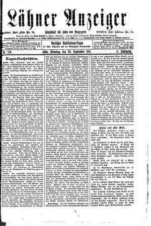 Lähner Anzeiger vom 26.09.1911