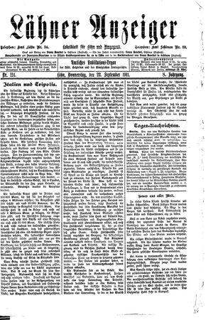 Lähner Anzeiger vom 28.09.1911