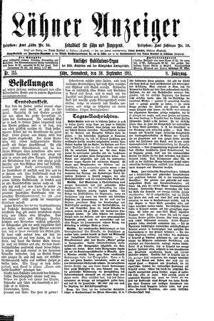 Lähner Anzeiger vom 30.09.1911