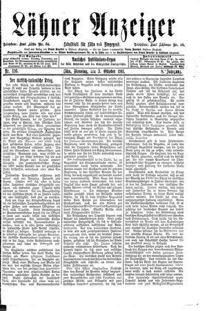 Lähner Anzeiger vom 03.10.1911