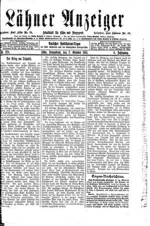 Lähner Anzeiger vom 07.10.1911