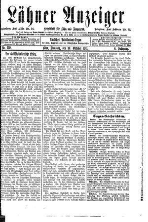 Lähner Anzeiger vom 10.10.1911