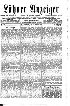 Lähner Anzeiger vom 12.10.1911