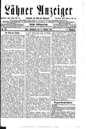 Lähner Anzeiger vom 14.10.1911