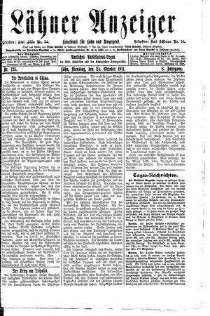 Lähner Anzeiger vom 24.10.1911