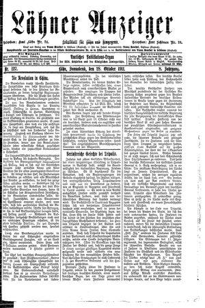 Lähner Anzeiger vom 28.10.1911