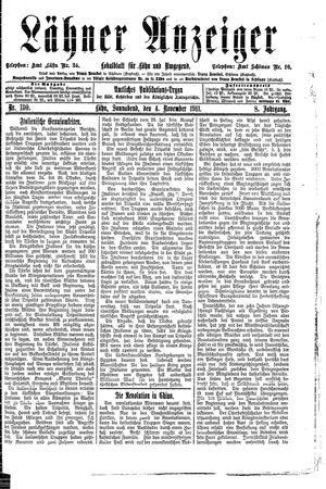 Lähner Anzeiger vom 04.11.1911