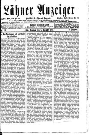 Lähner Anzeiger vom 07.11.1911