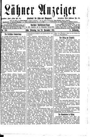 Lähner Anzeiger vom 28.11.1911