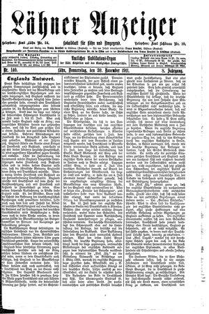 Lähner Anzeiger vom 30.11.1911