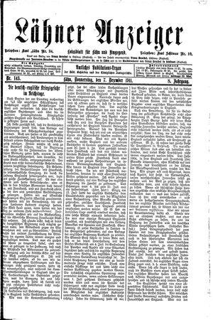 Lähner Anzeiger vom 07.12.1911