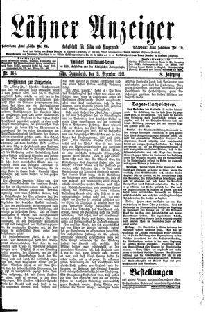 Lähner Anzeiger vom 09.12.1911