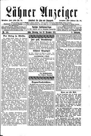 Lähner Anzeiger vom 12.12.1911