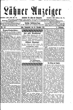 Lähner Anzeiger vom 16.12.1911