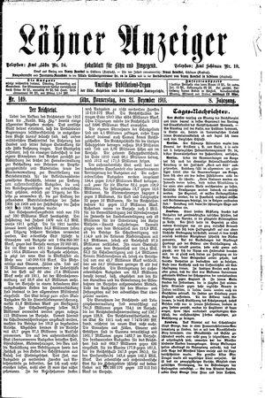 Lähner Anzeiger vom 21.12.1911