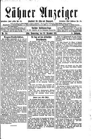Lähner Anzeiger vom 28.12.1911