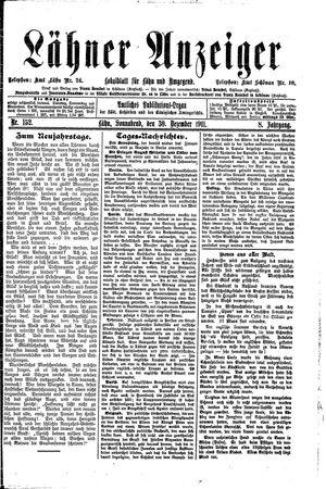 Lähner Anzeiger vom 30.12.1911