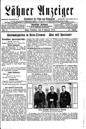 Lähner Anzeiger vom 08.01.1918