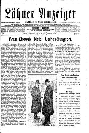 Lähner Anzeiger vom 12.01.1918