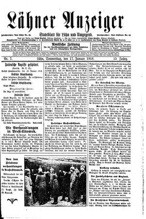 Lähner Anzeiger vom 17.01.1918