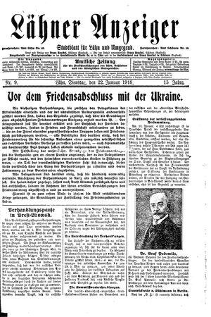 Lähner Anzeiger vom 22.01.1918