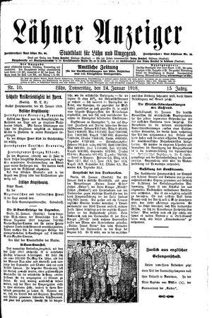 Lähner Anzeiger vom 24.01.1918