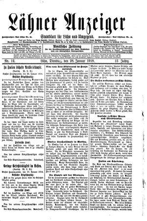 Lähner Anzeiger vom 28.01.1918