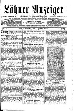 Lähner Anzeiger vom 31.01.1918