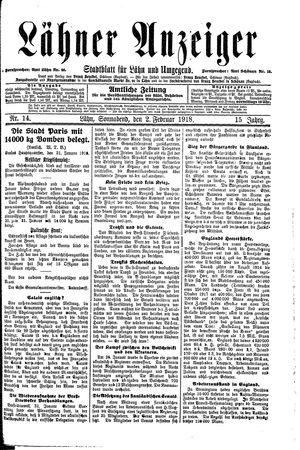 Lähner Anzeiger vom 02.02.1918