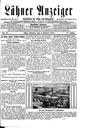 Lähner Anzeiger vom 05.02.1918