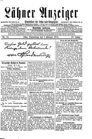 Lähner Anzeiger vom 07.02.1918