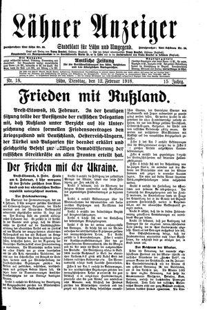 Lähner Anzeiger vom 12.02.1918