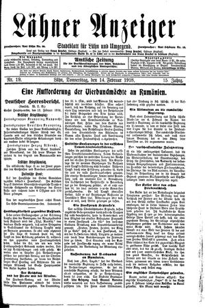 Lähner Anzeiger on Feb 14, 1918