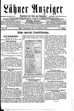 Lähner Anzeiger vom 16.02.1918