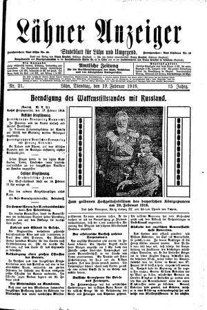 Lähner Anzeiger vom 19.02.1918