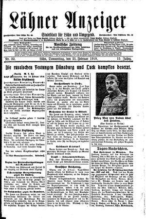 Lähner Anzeiger vom 21.02.1918