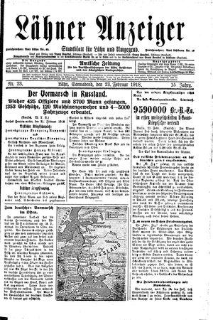 Lähner Anzeiger vom 23.02.1918