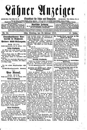 Lähner Anzeiger vom 26.02.1918