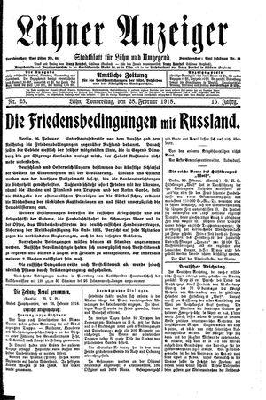 Lähner Anzeiger vom 28.02.1918
