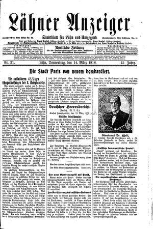 Lähner Anzeiger vom 14.03.1918