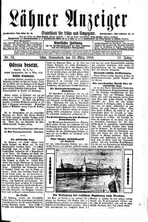Lähner Anzeiger vom 16.03.1918