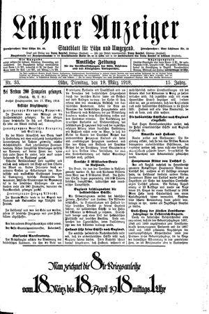 Lähner Anzeiger vom 19.03.1918