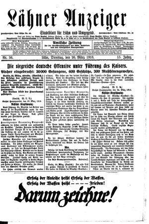 Lähner Anzeiger vom 26.03.1918