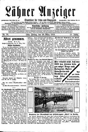 Lähner Anzeiger vom 29.03.1918