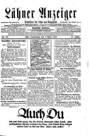 Lähner Anzeiger vom 04.04.1918