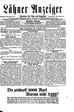 Lähner Anzeiger vom 06.04.1918