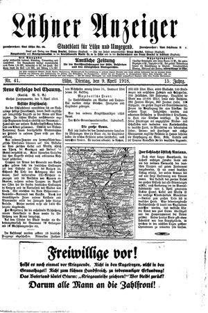 Lähner Anzeiger vom 09.04.1918
