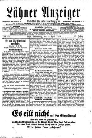 Lähner Anzeiger vom 11.04.1918