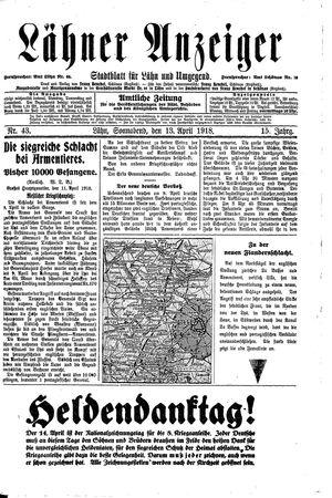 Lähner Anzeiger vom 13.04.1918