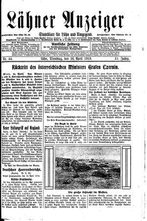 Lähner Anzeiger vom 16.04.1918